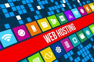 Web Hosting concept image with business icons and
